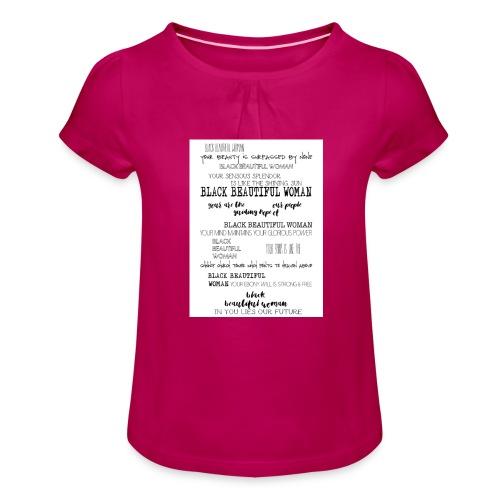 Beautiful Black Woman - Girl's T-Shirt with Ruffles