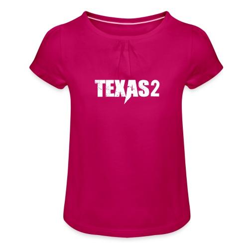 Texas2 White - Mädchen-T-Shirt mit Raffungen