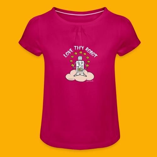Dat Robot: Love Thy Robot Buddha Dark - Meisjes-T-shirt met plooien