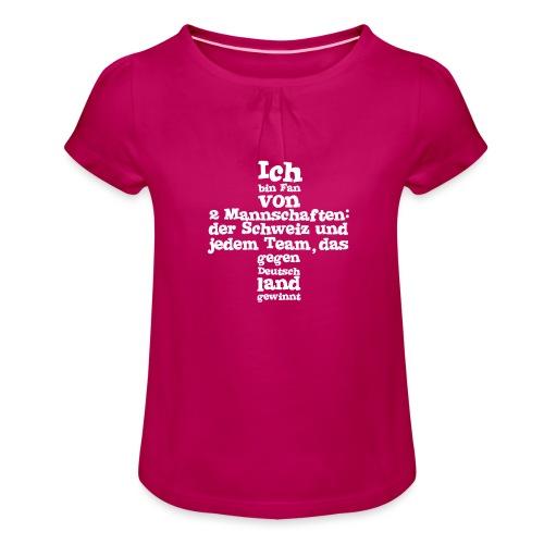 Fan von zwei Mannschaften - Mädchen-T-Shirt mit Raffungen