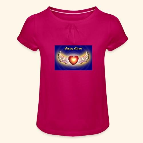 Flying Heart - Mädchen-T-Shirt mit Raffungen