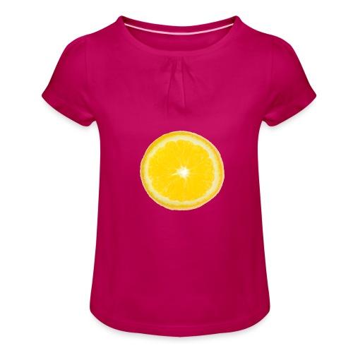 Orange - Mädchen-T-Shirt mit Raffungen