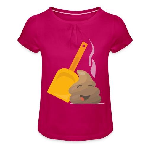 Funny Poop Emoji - Girl's T-Shirt with Ruffles
