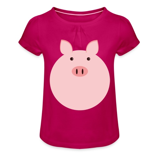 Schweinchen Fred - Mädchen-T-Shirt mit Raffungen