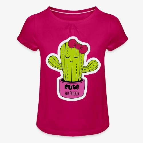Cute Cactus Girl - Mädchen-T-Shirt mit Raffungen