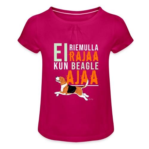 Riemulla Rajaa Beagle - Tyttöjen t-paita, jossa rypytyksiä