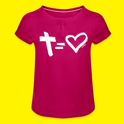 Cross = Heart WHITE // Cross = Love WHITE - Girl's T-Shirt with Ruffles