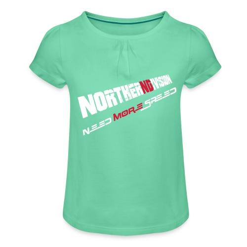 nd badg 2vari perspective - Tyttöjen t-paita, jossa rypytyksiä