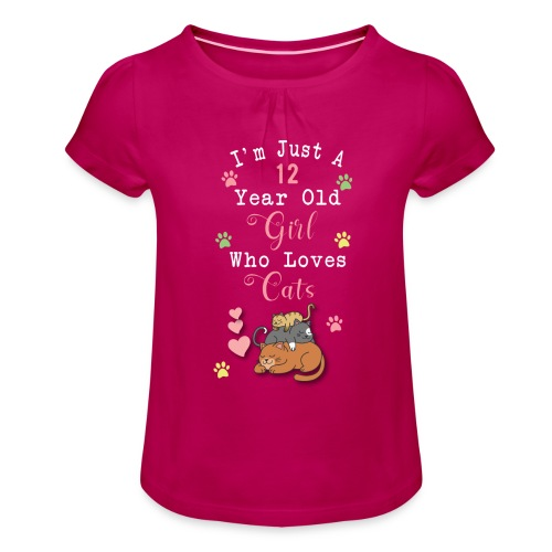 I'm just a 12 year old girl who loves cats - T-shirt à fronces au col Fille