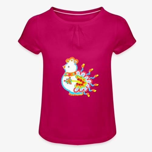 Vogel neon bunt - Mädchen-T-Shirt mit Raffungen