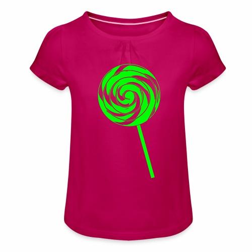 Retro Lolly - Mädchen-T-Shirt mit Raffungen