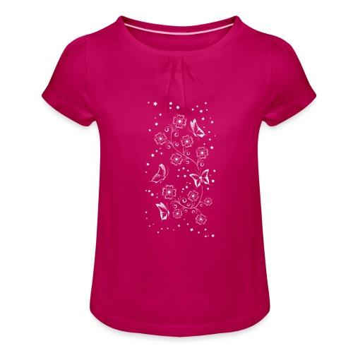 Floral and Butterflys_5_Shirt_Weiss - Mädchen-T-Shirt mit Raffungen