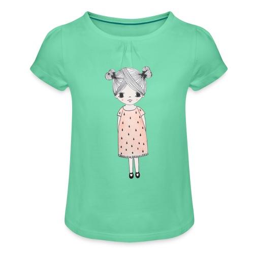 lachend meisje met knotjes - Meisjes-T-shirt met plooien