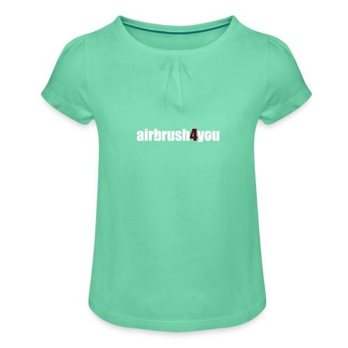 Airbrush - Mädchen-T-Shirt mit Raffungen