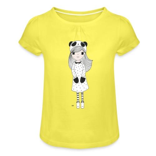 panda meisje - Meisjes-T-shirt met plooien