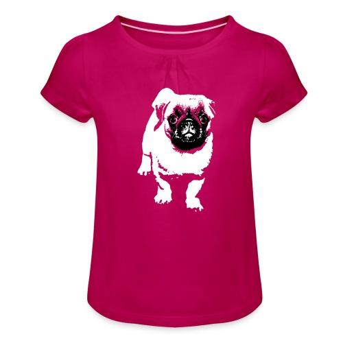 Mops Hund Hunde Möpse Geschenk - Mädchen-T-Shirt mit Raffungen