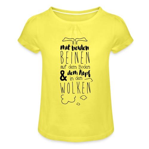Kopf in den Wolken - Mädchen-T-Shirt mit Raffungen