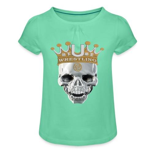 skull-krone - Mädchen-T-Shirt mit Raffungen