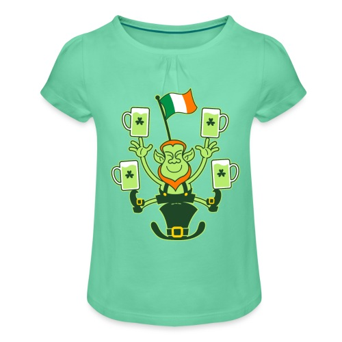 Leprechaun Juggling Beers and Irish Flag - Girl's T-Shirt with Ruffles