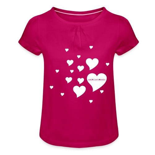 American Spanish Corazones - Camiseta para niña con drapeado