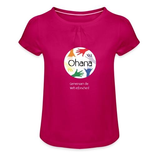 Logo mit weißem Text - Mädchen-T-Shirt mit Raffungen