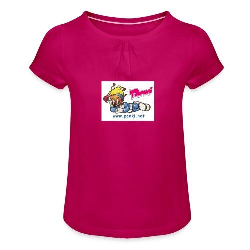 panki sticker neu - Mädchen-T-Shirt mit Raffungen