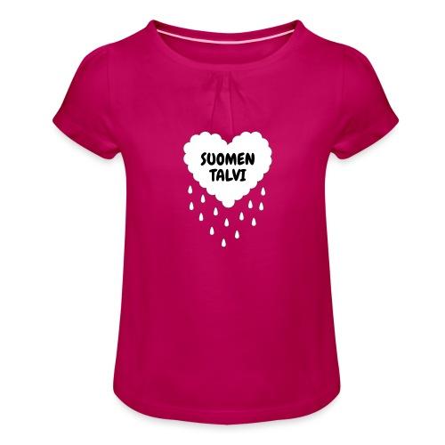 Suomen talvi - Tyttöjen t-paita, jossa rypytyksiä