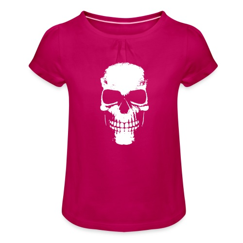 Skull Schatten Totenkopf Rocker - Mädchen-T-Shirt mit Raffungen
