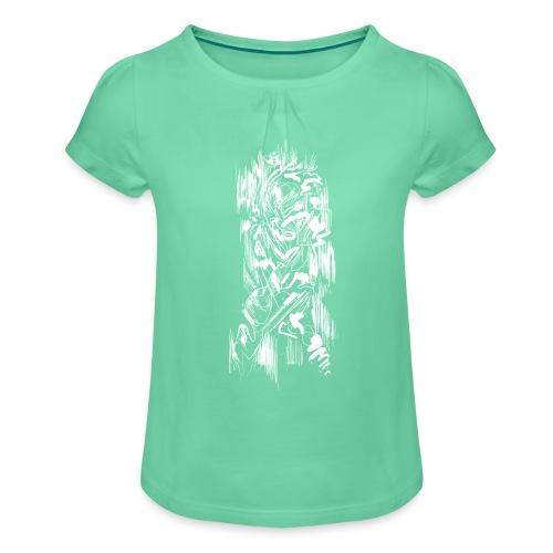 Samurai / White - Abstract Tatoo - Girl's T-Shirt with Ruffles
