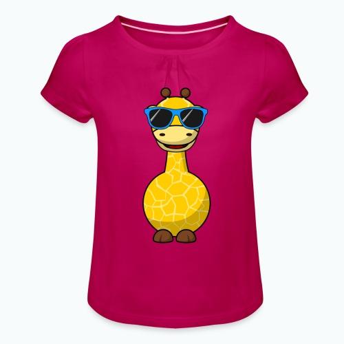 Gigi Giraffe with sunglasses - Appelsin - T-shirt med rynkning flicka