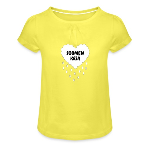 Suomen kesä - Tyttöjen t-paita, jossa rypytyksiä