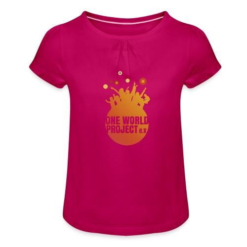 One World Project e. V. - Logo - Mädchen-T-Shirt mit Raffungen