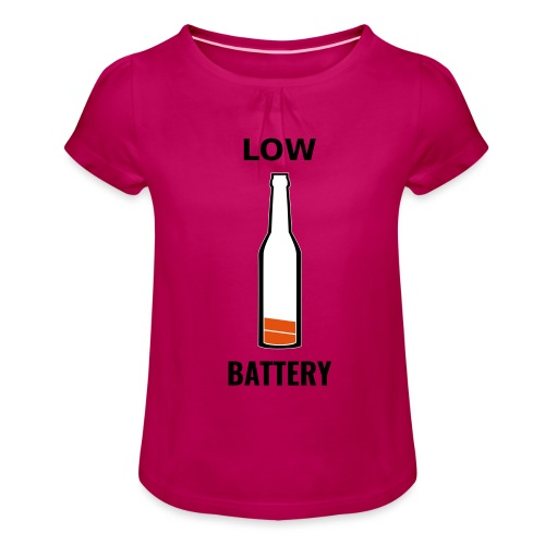 Beer Low Battery - T-shirt à fronces au col Fille