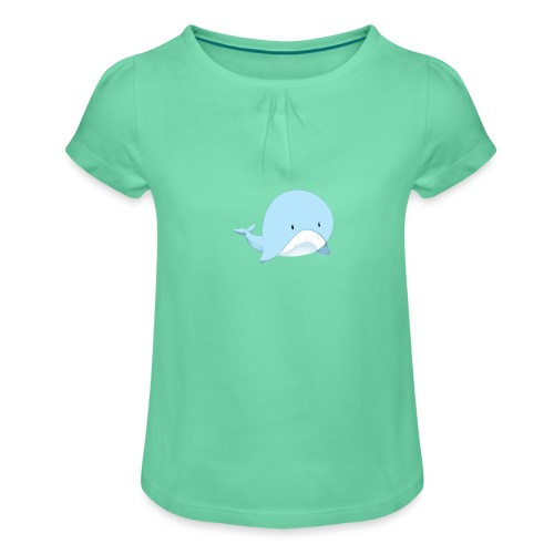 Whale - Maglietta da ragazza con arricciatura