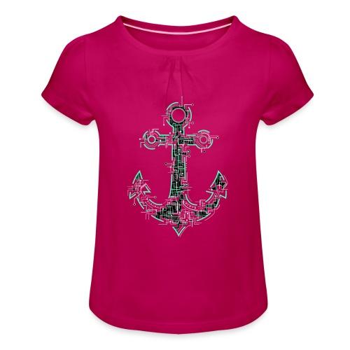 Cyber Anker Tshirt ✅ Elektro Anker Tshirt - Mädchen-T-Shirt mit Raffungen