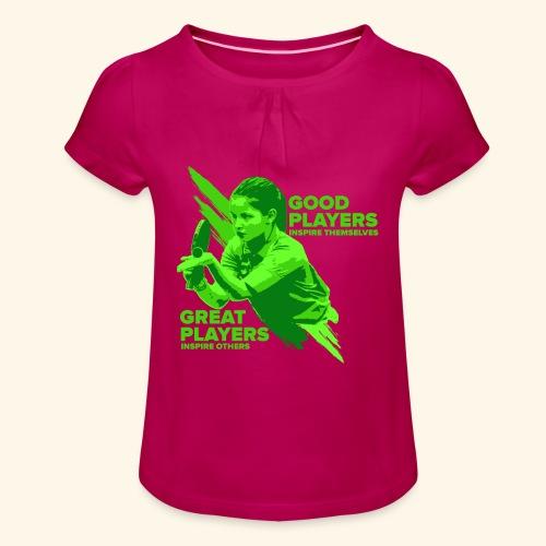 Tischtennis Mädchendesign Konzetration - Mädchen-T-Shirt mit Raffungen