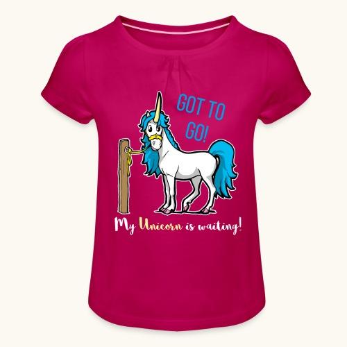 Dessin drôle de licorne disant bande dessinée cadeau - T-shirt à fronces au col Fille