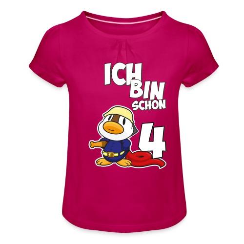Stolze Feuerwehr Ente 4. Geburtstag Jungen Mädchen - Mädchen-T-Shirt mit Raffungen
