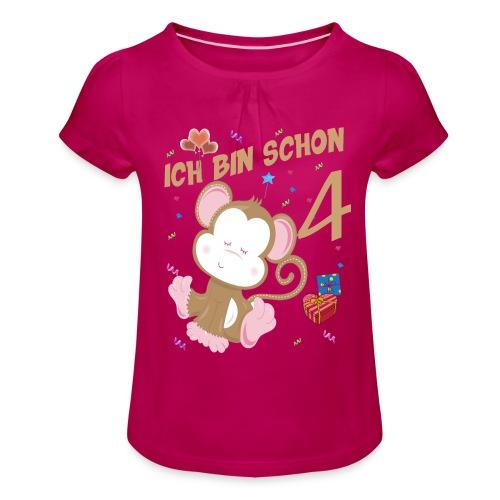 Kinder Affen Geburtstagsshirt – Geburstag 4 Jahre - Mädchen-T-Shirt mit Raffungen
