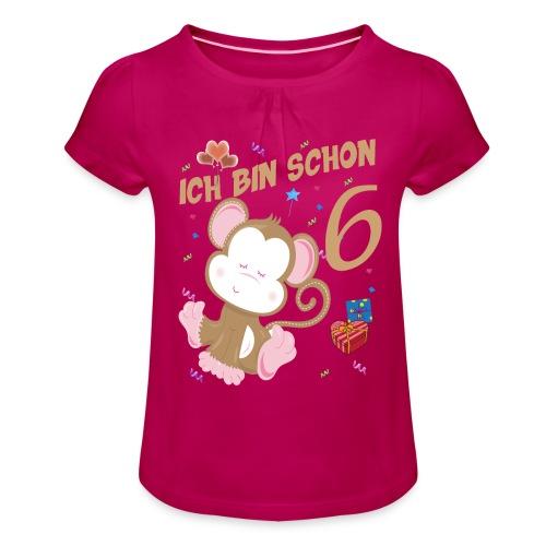 Kinder Affen Geburtstagsshirt - Geburstag 6 Jahre - Mädchen-T-Shirt mit Raffungen