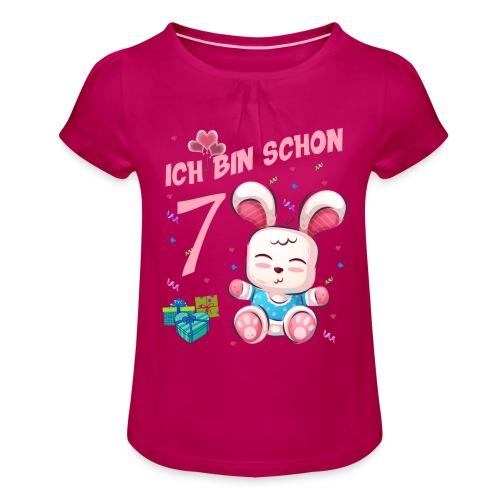 Hasen Geburtstagsshirt –Geburstag 7 Jahre - Mädchen-T-Shirt mit Raffungen