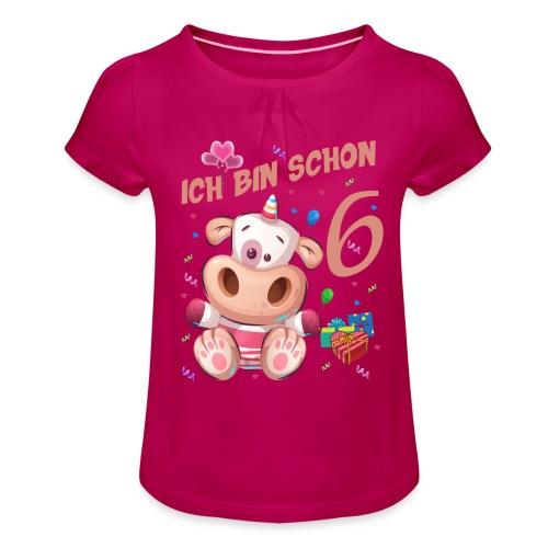 Kuh Geburtstagsshirt – Ich bin schon 6 Jahre - Mädchen-T-Shirt mit Raffungen