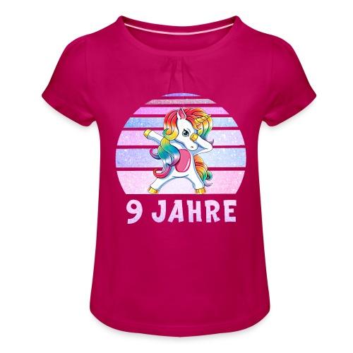 Dabbing Einhorn Geburtstagsshirt 9 Jahre Mädchen - Mädchen-T-Shirt mit Raffungen