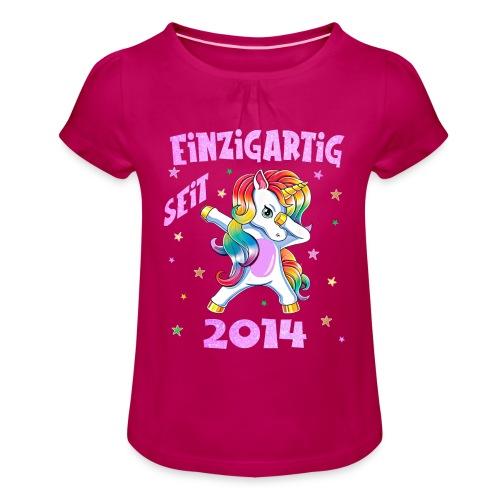 Geburtstag Einhorn 2014 Geschenk 6 Jahre Mädchen - Mädchen-T-Shirt mit Raffungen