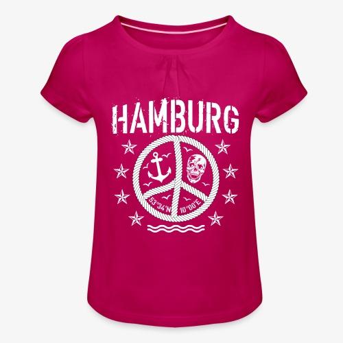 105 Hamburg Peace Anker Seil Koordinaten - Mädchen-T-Shirt mit Raffungen