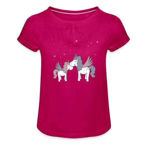 Little Unicorn - Mädchen-T-Shirt mit Raffungen