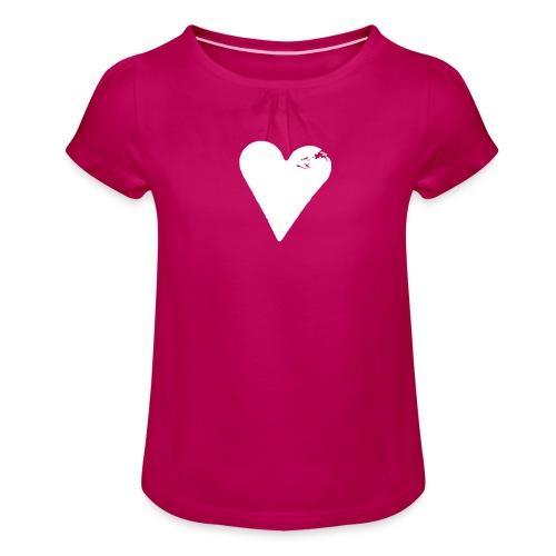 Prinsessehjerte (potettrykk) - Jente-T-skjorte med frynser
