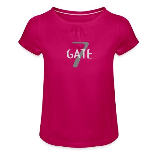Gate-7 Logo hell - Mädchen-T-Shirt mit Raffungen