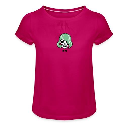 Sexy Totenkopf - Sharon Bone - Mädchen-T-Shirt mit Raffungen