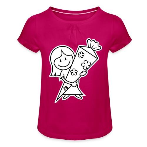 vl028b_schulanfang_2c - Mädchen-T-Shirt mit Raffungen